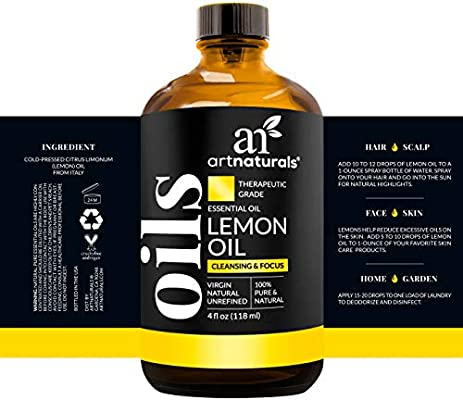 ArtNaturals Therapeutic-Grade Lemon Essential Oil - Pure and Natural - Includes Our Aromatherapy Signature Zen and Chi Blends – 4 Fl Oz