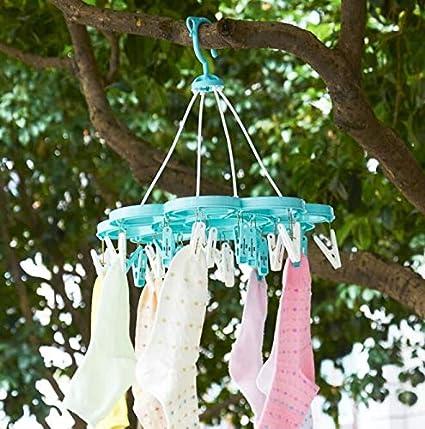 Tendedero plegable redondo para ropa e interior y calcetines; incluye 24 resistentes pinzas para colgar