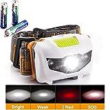 GRDE® Waterproof Headlamp, Light Weight Comfortable LED Head Torch, 300 Lumens Headlight as walking/ fishing/ cycling/ working Light (white shell)