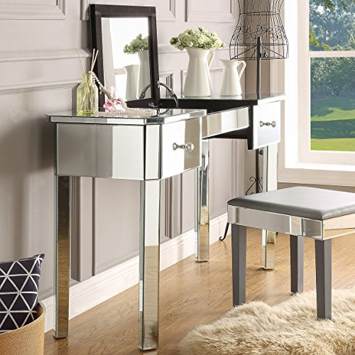 - Inspired Home Mirrored Vanity Table - Design: Louisa   2 Drawers   Lift-up Top   Jewelry Holder   Cosmetics Organizer