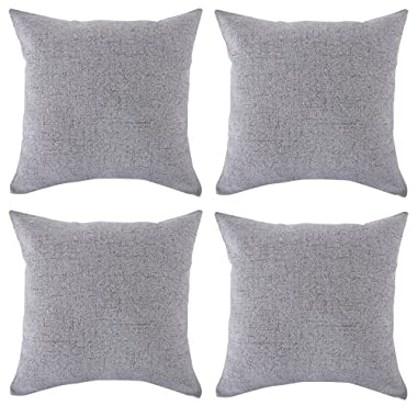 Deconovo Faux Linen Look Throw Cushion Case Pillow Cover With Invisible Zipper For Sofa, 18x18-inch, Neutral Grey, Set Of 4