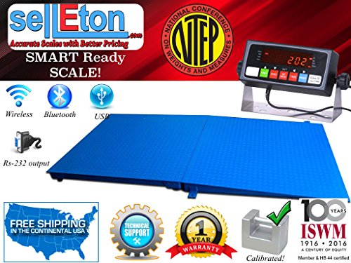 NTEP 4' x 4' (48'' x 48'') Floor Scale with Ramp 2,500 lbs x 0.5 lb/ Pallet Size by Selleton