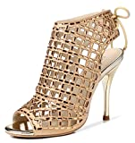 LizForm Women Peep Toe Sandal Boots Lace up Studded Stiletto Shoes Wedding Dress High Heels Gold 8