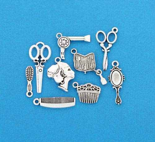 Jewelry Making Hair Salon Charm Collection Antique Silver Tone 9 Different Charms - COL076 Perfect for Pendants, Earrings, Zipper pulls, Bookmarks and Key Chains (Zinc Pull Ring)