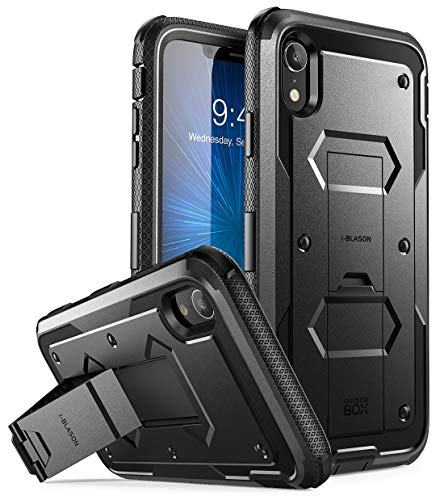 iPhone XR Case, [Armorbox] i-Blason [Built in Screen Protector][Full Body] [Heavy Duty Protection] [Kickstand] Shock Reduction Case for Apple iPhone XR 6.1 Inch (2018 Release) (Black)