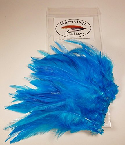 Winter's Hope Fly & River WHFR Strung Saddle Hackle Feathers (Silver Doc Blue)