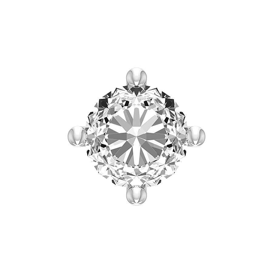 2.0mm Round Cut Diamond and 18K White Gold L Shaped Nose Pin/ Stud