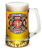 Beer Mugs with Handles – Fire Honor Courage Sacrifice 343 Badge 25 oz Tankard Beer Mug – Firefighter Gifts for Men or Women – Beer Glass with Logo (25 Ounces)