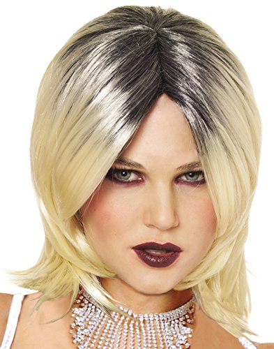 Evil Bride Wig (Blonde w/ Black) Adult Accessory