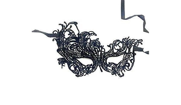 Hoveey - Máscara de encaje negro con diseño de bola de cisne para ...