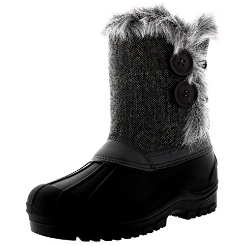 Polar Womens Twin Button Quilted Waterproof Artic Winter Muck Thermal Winter Snow Boots - Gray Textile - US10/EU41 - YC0407