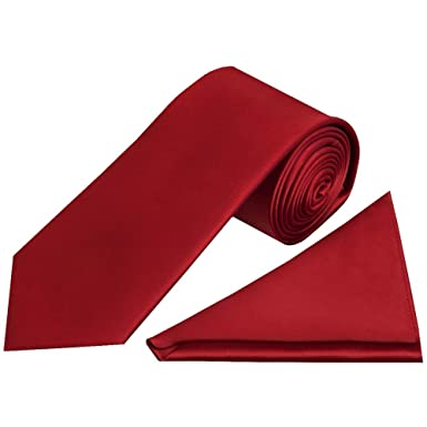 TiesRUs Plain rojo vino juego de Classic de hombre corbata pañuelo ...