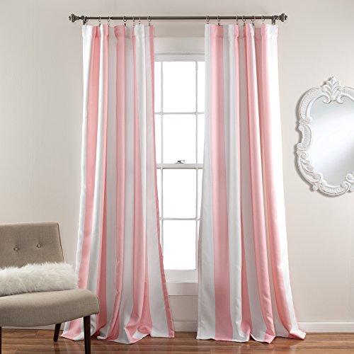Lush Decor Wilbur Blackout Window Curtain Panel, Soft Pink,