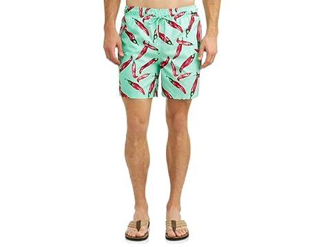 820acfecec Amazon.com: Men's Aqua Verde Chili Peppers All-Over Swim Shorts ...