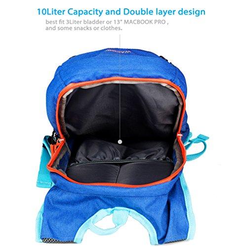 WACOOL Waterproof 10 Liter Hydration Bladder Pack, Cycling Running Walking Backpack, Hiking Lightweight Daypack,Include 2 Liter (70oz) BPA-Free Bladder,.