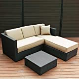 Abba Patio Furniture Set 3 Piece Outdoor Wicker Rattan Garden Sofa and Chaise Lounge Set with Cushioned Seat, Brown
