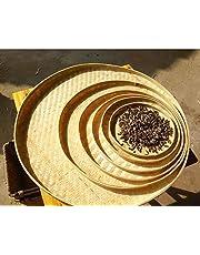 Bamboo Handmade Round Plates Bamboo Fruit Baskets Storage Multiple use