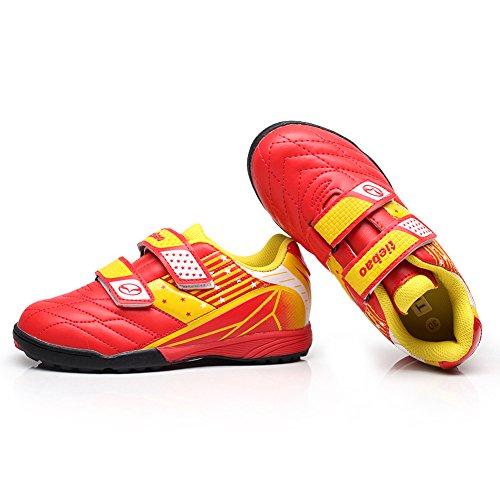 Tiebao Niños Clásico Bucle de Gancho Zapatos de Fútbol Profesional Zapatillas de Deporte Niños / Jóvenes Tamaño Rojo-Amarillo Niño Pequeño 13135 EU30