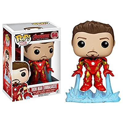 Funko 6001 POP Marvel Avengers 2 Unmasked Iron Man Action Figure: Toys & Games