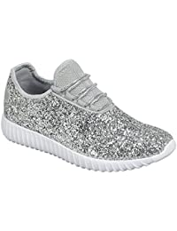 Women's Remy-18 Glitter Lace-Up Low Top Fashion Sneaker