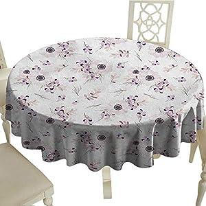 "longbuyer Anemone Flower Dinning Tabletop DecorShabby Chic Spring Pattern Blossoming Bridal Bouquets Romantic Diameter 54"",Suitable for Kitchen, dustproof Desktop Decoration 104"