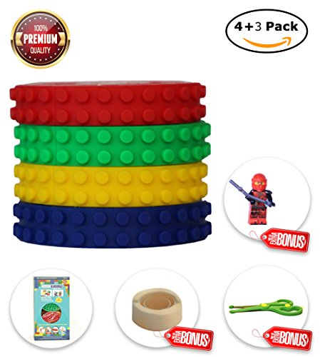 BLOCKBUILD Building Block Tape: 4 Pack/ 9 Pack of Non-Toxic Silicon Tapes with Reusable Strong Self-Adhesive Power, Perfect & 100% Safe Educational Toy for Kids, Compatible with Lego - How Face Figure To Shape Out