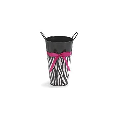 Amazon Zebra Striped Black Tin Flower Vase Big Deal Zebra Print