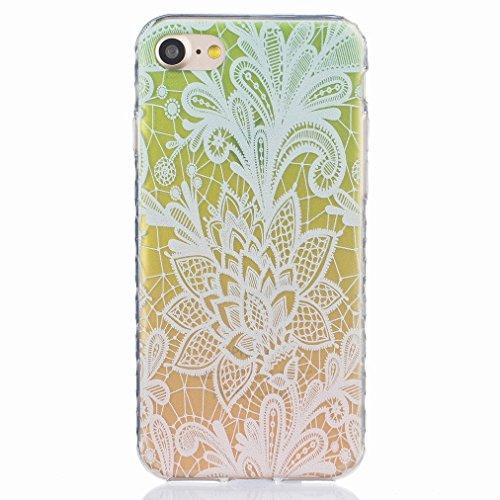 Ougger Apple iPhone 7 Custodia Case, Antigraffio Trasparente Cristallo Durevole Slim Morbido TPU Gomma Silicone Flessibile Protettivo Skin Shell Bumper Rear (Modello 2)