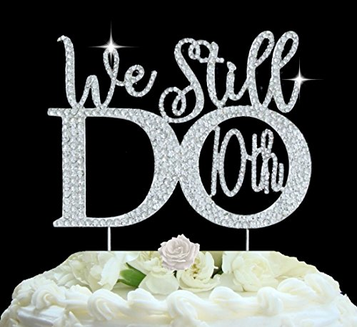 10th Anniversary cake topper in gorgeous silver crystal rhinestones