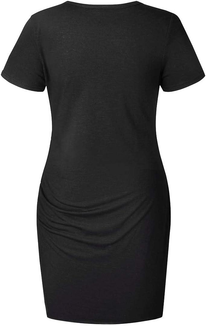 EVERICH Summer Casual Short Dresses Round Neck Ruffled Irregular T Shirt Dress for Women