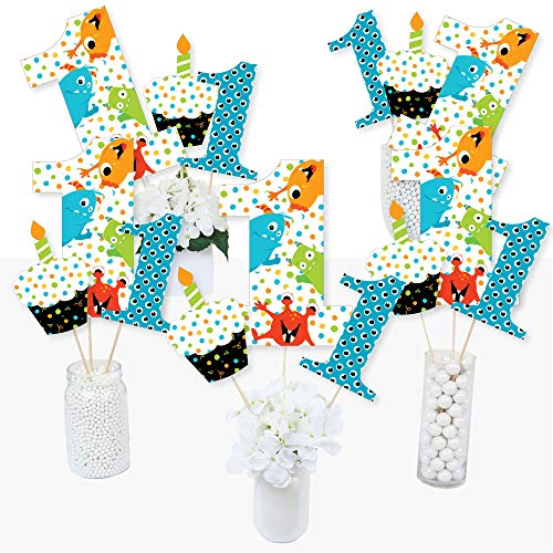 1st Birthday Monster Bash - Little Monster First Birthday Party Centerpiece Sticks - Table Toppers - Set of 15 ()