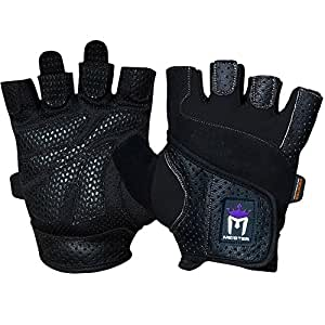 Meister Women's Fit Grip Weight Lifting Gloves w/Washable Amara Leather - Black - X-Small