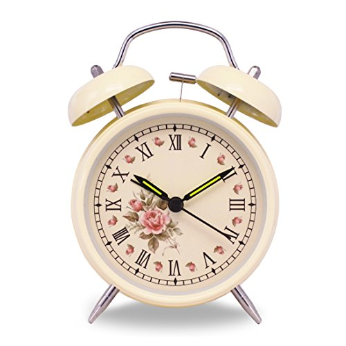 Slash 4 Vintage Retro Old Fashioned Quiet Non-ticking Sweep Second Hand, Quartz Analog Twin Bell Clock, Battery Operated, Loud Alarm, Nightlight Function (Beige Case - Roses)