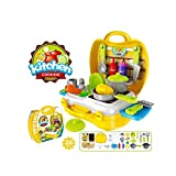 Pretend Play Kitchen Cooking Set for Kids with Portable carrying Box 26PCS Toy for 3 Year Old
