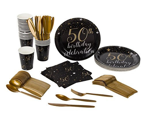 Disposable Dinnerware Set - Serves 24-50th Birthday Party Supplies - Includes Plastic Knives, Spoons, Forks, Paper Plates, Napkins, Cups (Cups Invites Napkins Plates)