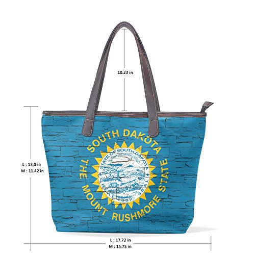 Distressed South Dakota State Flag Women's Fashion Large Tote Shoulder Bag Ladies Handbag