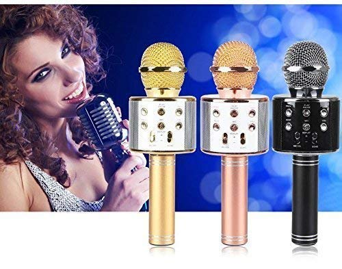 Wazdorf Wireless Bluetooth Microphone Recording Condenser Handheld Microphone with Bluetooth Speaker Audio Recording for Mike All Android and iPhone and Smartphone,Laptops & Computers(Random Color) product image