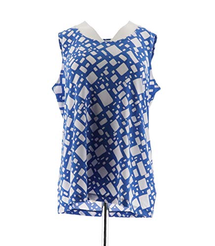 Susan Graver Printed Liquid Knit Scoop Neck Tank Blue M New A255346