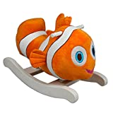 Kids Rocking Toy Clown Fish Plush Ride On Wooden Rocker w/ Smooth Handles and Bright Orange White Colors Perfect Children's Gift