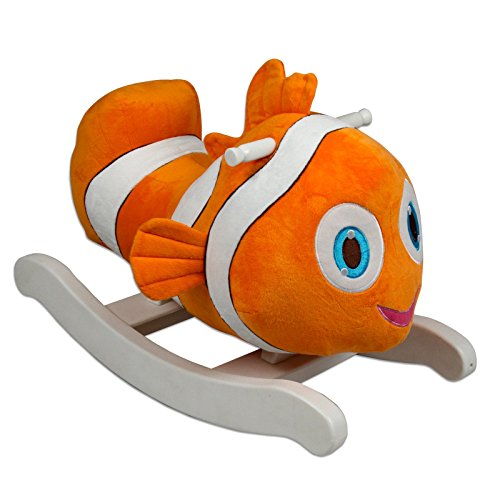 Kids Rocking Toy Clown Fish Plush Ride On Wooden Rocker w/ Smooth Handles and Bright Orange White Colors Perfect Children's Gift by P. Toys