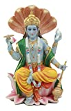 Ebros Hindu God Vishnu Vasudeva Sitting On Throne of Cobras Statue Preserver and Protector Blue Avatar Figurine Eastern Enlightenment Sculpture