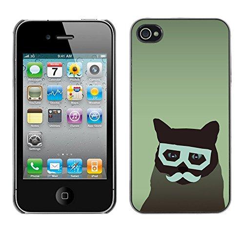 LASTONE PHONE CASE / Coque Housse Etui Shock-Absorption Bumper et Anti-Scratch Effacer Case Cover pour Apple Iphone 4 / 4S / Cat Art Hipster Moustache Glasses Feline