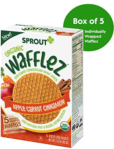 Sprout Organic Wafflez Toddler Snacks, Apple Carrot Cinnamon, 5 Count Box of Individually Wrapped - Snacks Food Finger