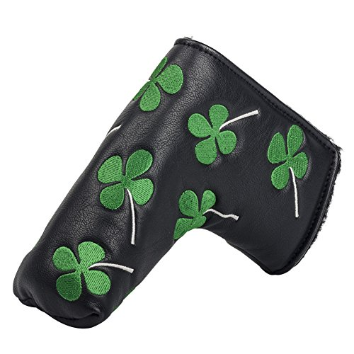 HIFROM(TM) Golf Putter Head Cover headcover Shamrock Embroidered Blade Fit All Brands - Golf Club Putter Cover