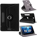 TGK 360 Degree Rotating Leather Rotary Swivel Stand Case Cover For Micromax Canvas Tab P702, P701, P70221 7 Inch Tablet (Black)