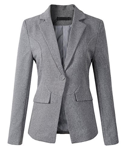 - Womens Formal One Button Boyfriend Blazer Jacket (S, 1513Grey)