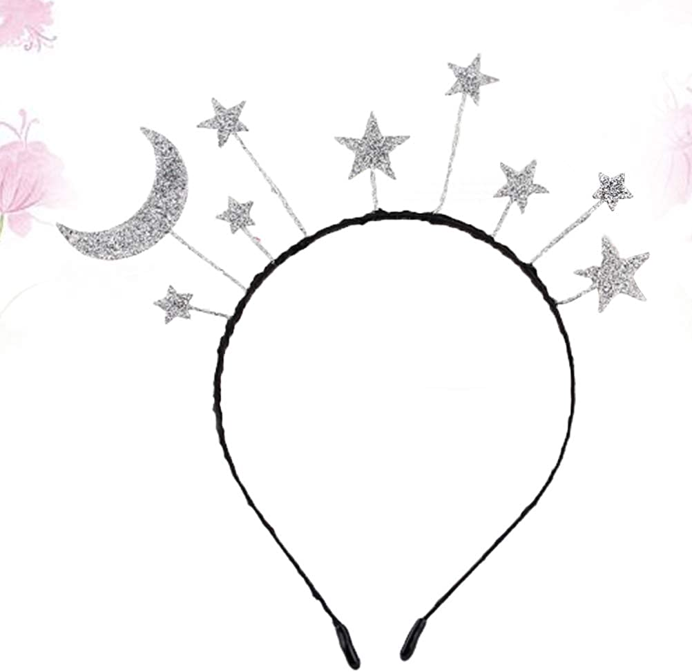 Amosfun Star Moon Headband Birthday Party Hair Hoop Glitter Hair Accessories for Birthday Costume Party