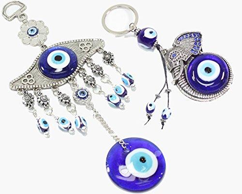 Amulet Elephant - Turkish Blue Evil Eye (Nazar) Amulet and Elephant Keychain Wall Hanging Home Decor Protection Blessing Housewarming Birthday Gift US Seller