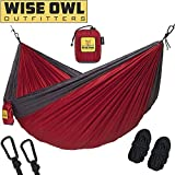 Cheap wwww Hammock for Camping – Single & Double Hammocks Gear For The Outdoors Backpacking Survival or Travel-SO Crimson Red & Charcoal Grey