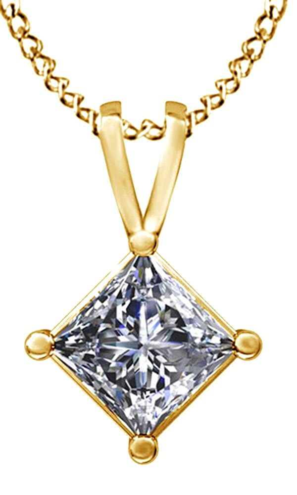 Jewel Zone US White Cubic Zirconia Pendant Necklace in 14k Gold Over Sterling Silver 1.5 cttw